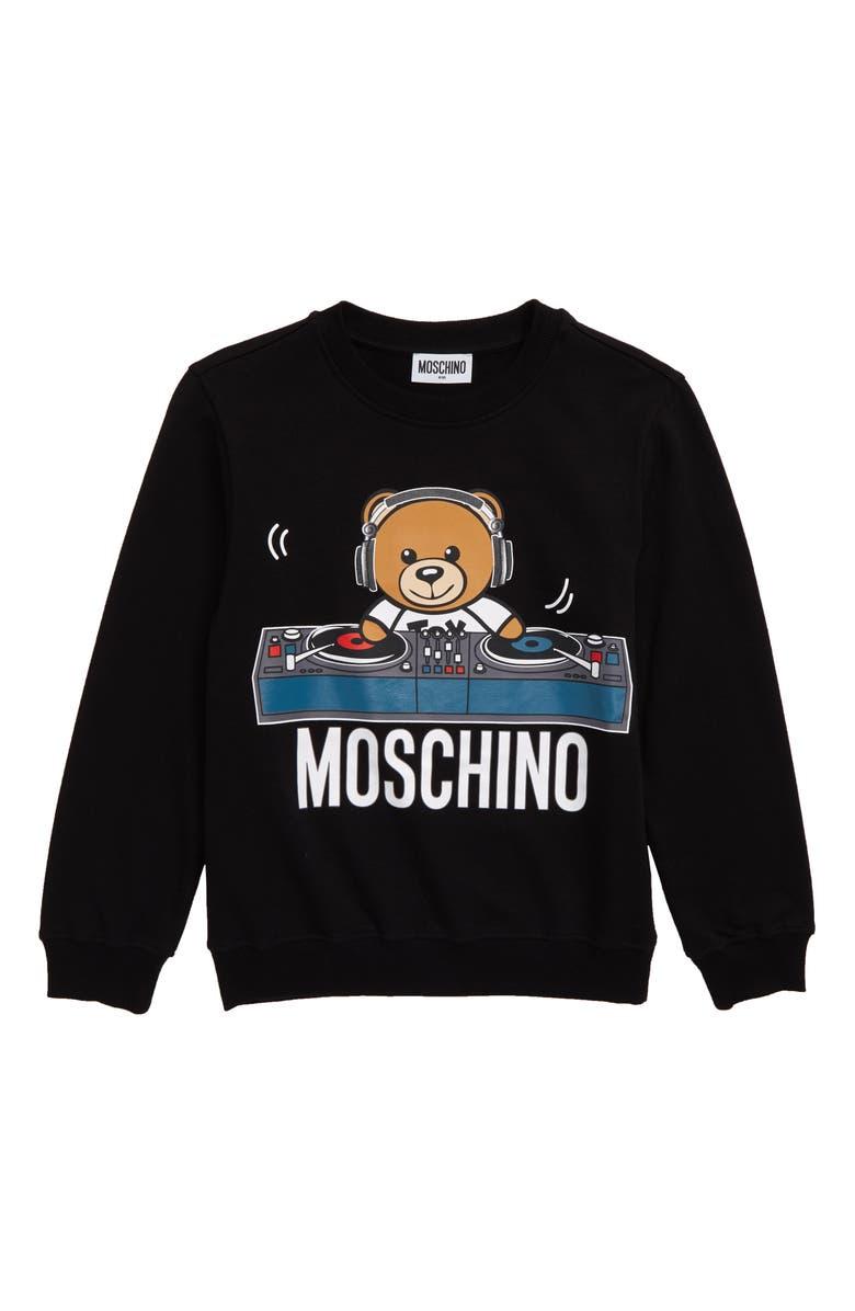 MOSCHINO DJ Toy Bear Sweatshirt, Main, color, 001