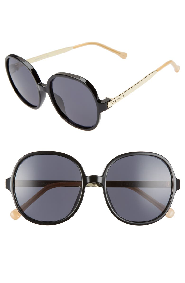 SEAFOLLY Hamilton 55mm Round Sunglasses, Main, color, BLACK/ SMOKE