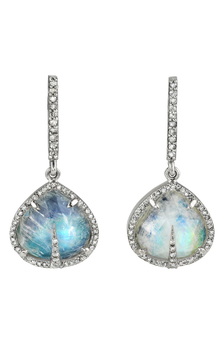 SHERYL LOWE Moonstone Teardrop Earrings, Main, color, MOONSTONE/ DIAMOND