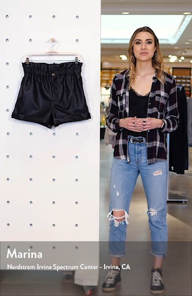 Paperbag Waist Faux Leather Shorts, sales video thumbnail