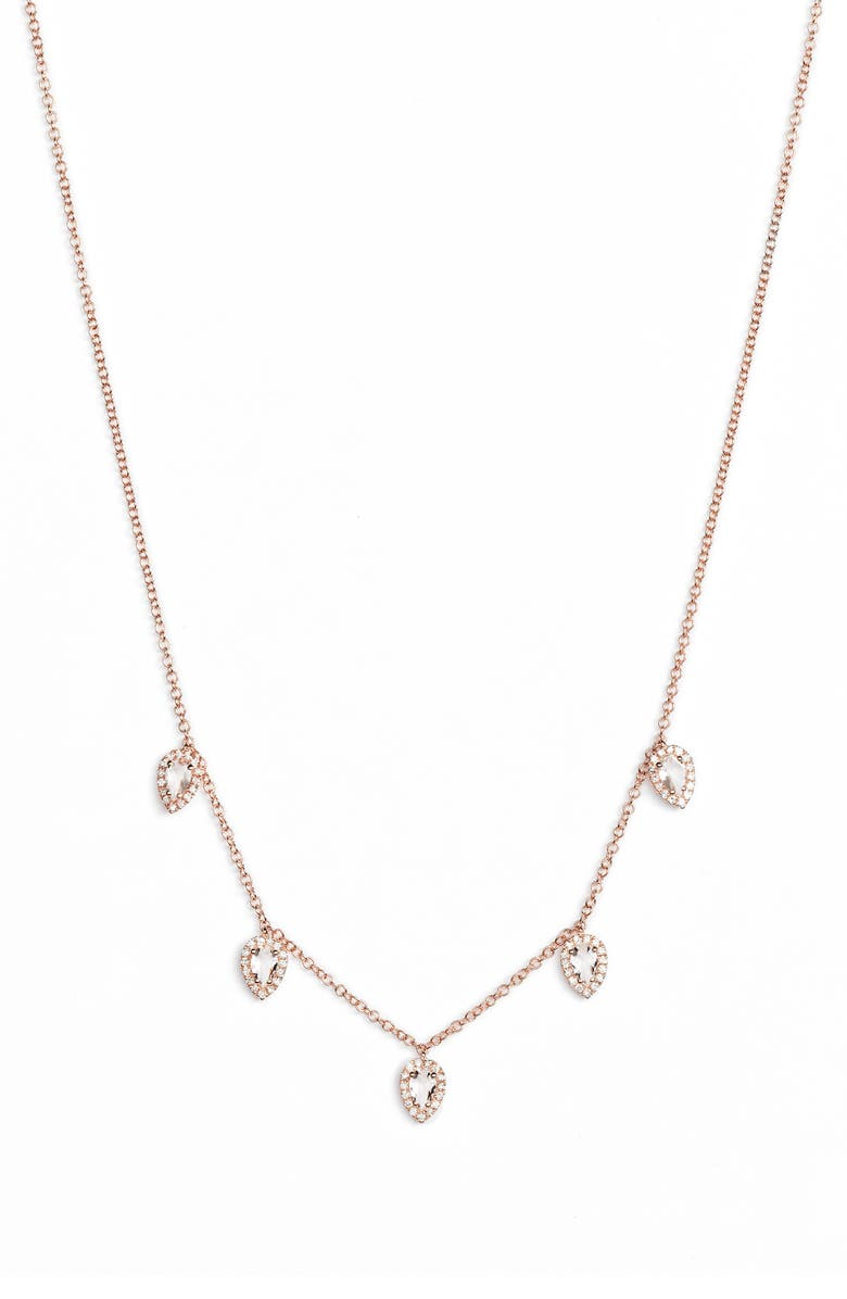 EF COLLECTION Diamond Collar Necklace, Main, color, ROSE GOLD