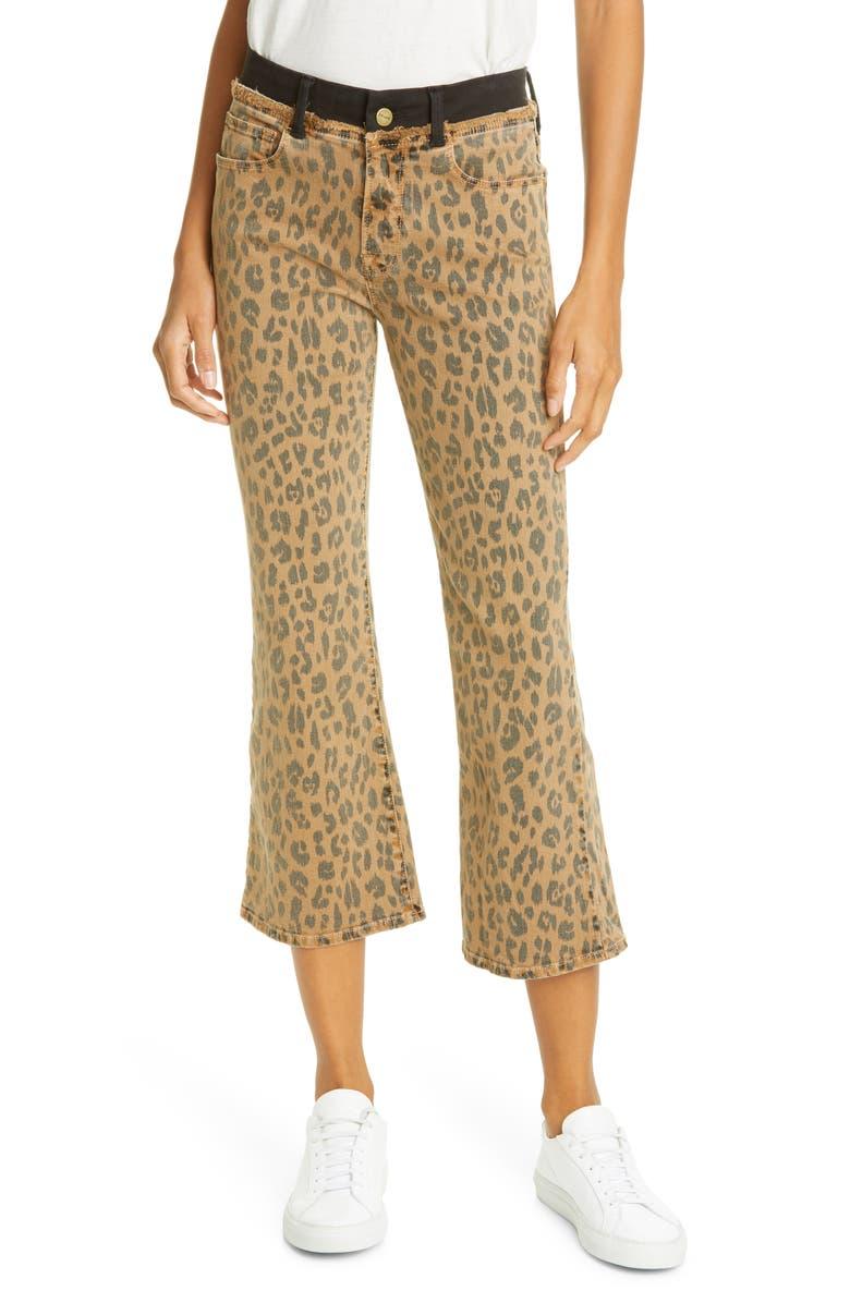 FRAME Le Crop Mini High Waist Bootcut Jeans, Main, color, CHEETAH CARGO MULTI