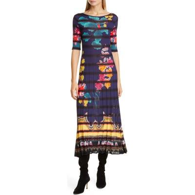 Etro Floral Print Rib Midi Sweaterdress, US / 40 IT - Blue
