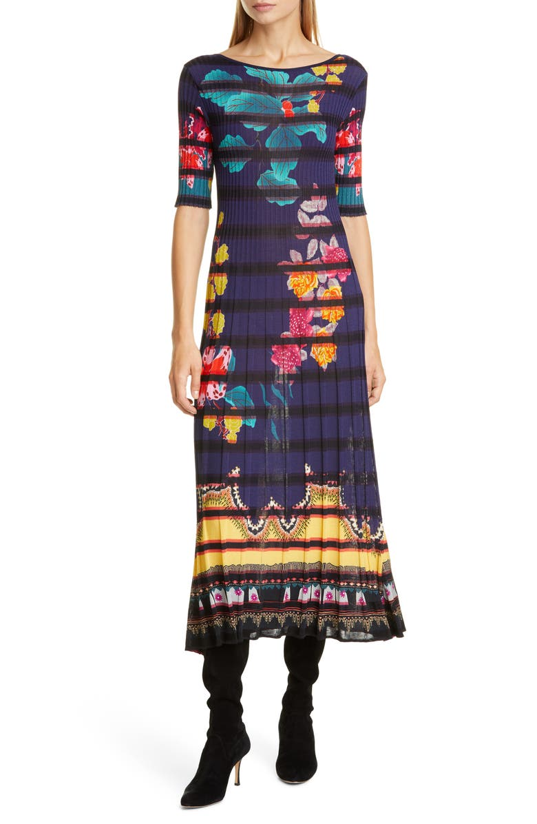 ETRO Floral Print Rib Midi Sweaterdress, Main, color, NAVY