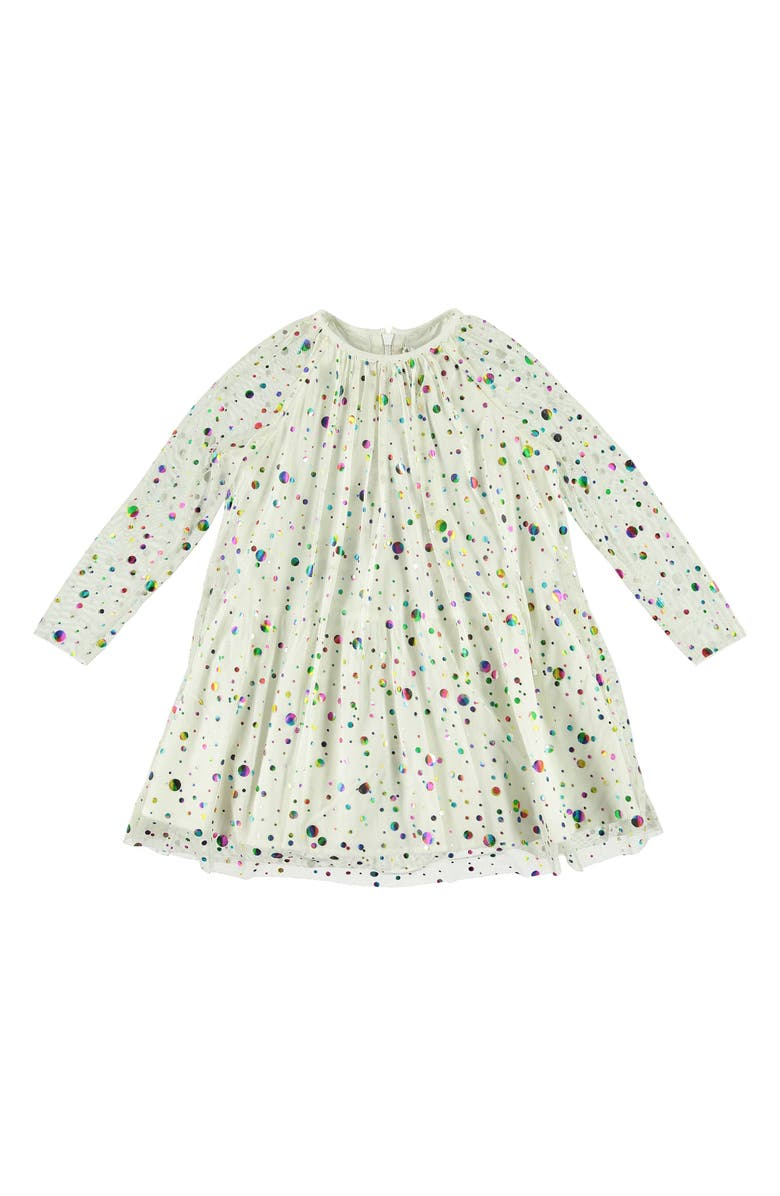 STELLA MCCARTNEY KIDS Foil Polka Dot Long Sleeve Dress, Main, color, IVORY