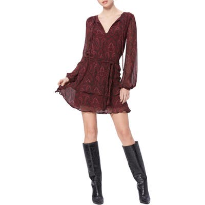 Paige Doah Paisley Long Sleeve Silk Minidress, Burgundy