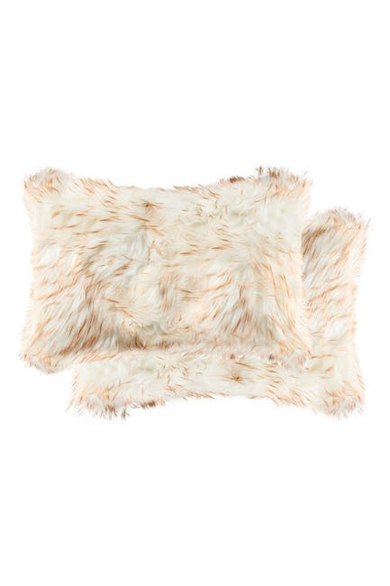 "Image of LUXE Belton Faux Fur Pillow - Set of 2 - 12"" x 20"" - Gradient Tan"