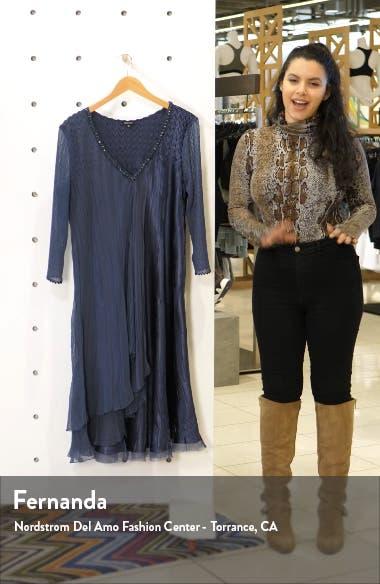 Beaded Chiffon & Charmeuse A-Line Dress, sales video thumbnail