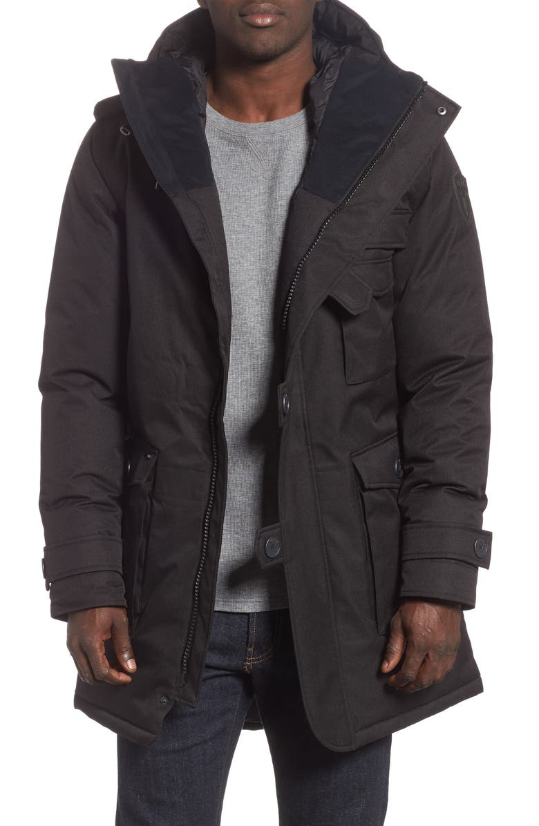 NOBIS Shelby Windproof & Waterproof 650-FIll Power Down Military Fishtail Parka, Main, color, 001