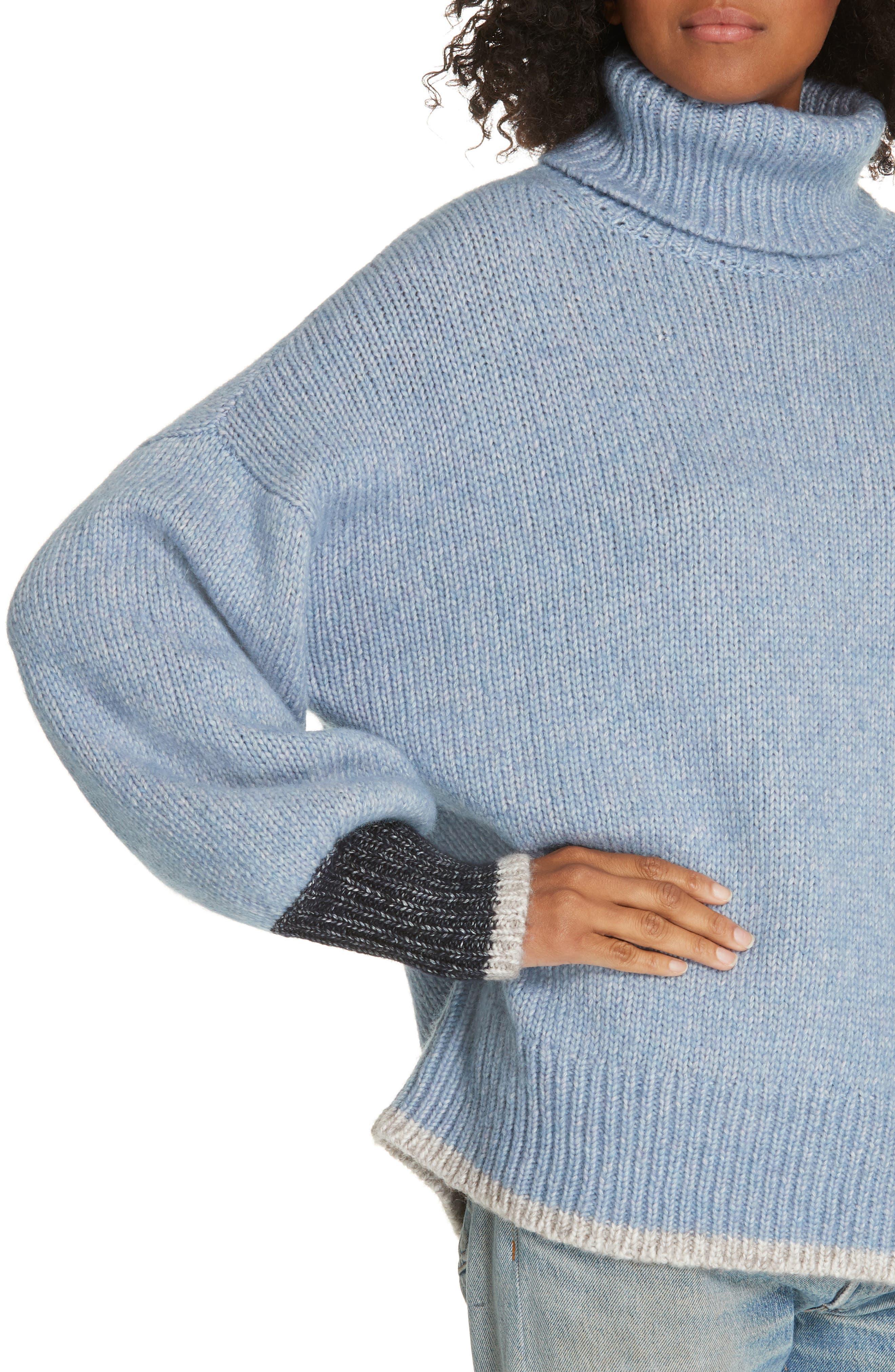 ,                             Oversize Turtleneck Sweater,                             Alternate thumbnail 4, color,                             LIGHT BLUE/ CREAM/ NAVY