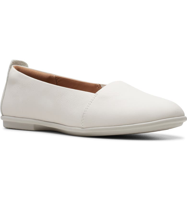 CLARKS<SUP>®</SUP> Un Coral Flat, Main, color, WHITE LEATHER