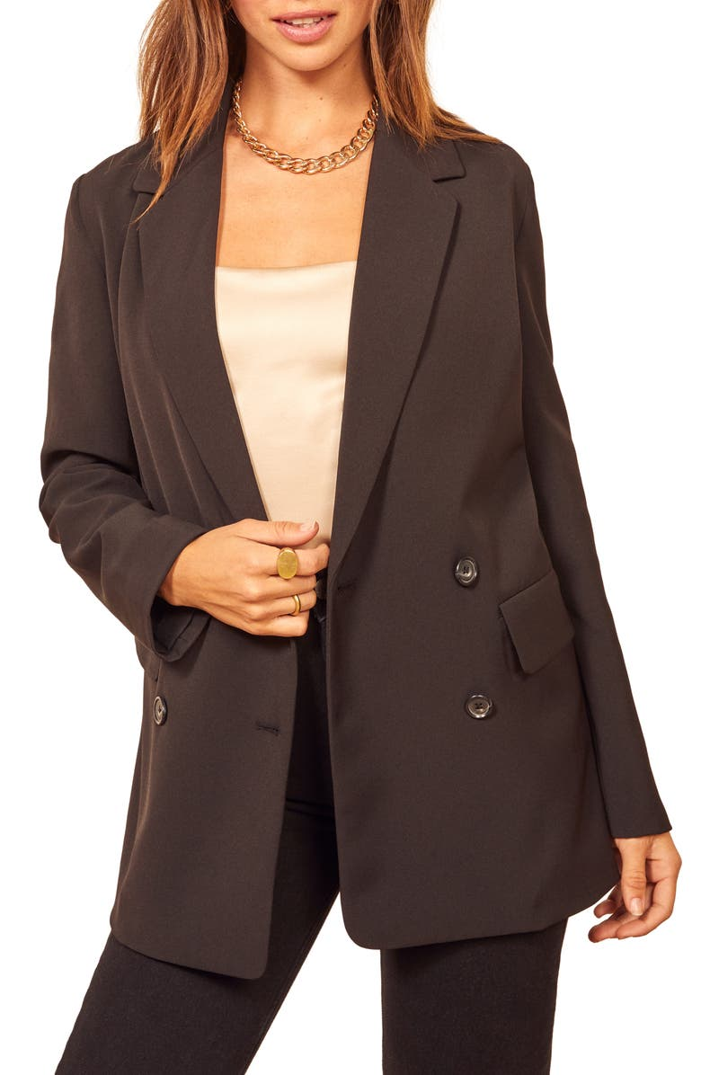 REFORMATION Double Breasted Blazer, Main, color, BLACK