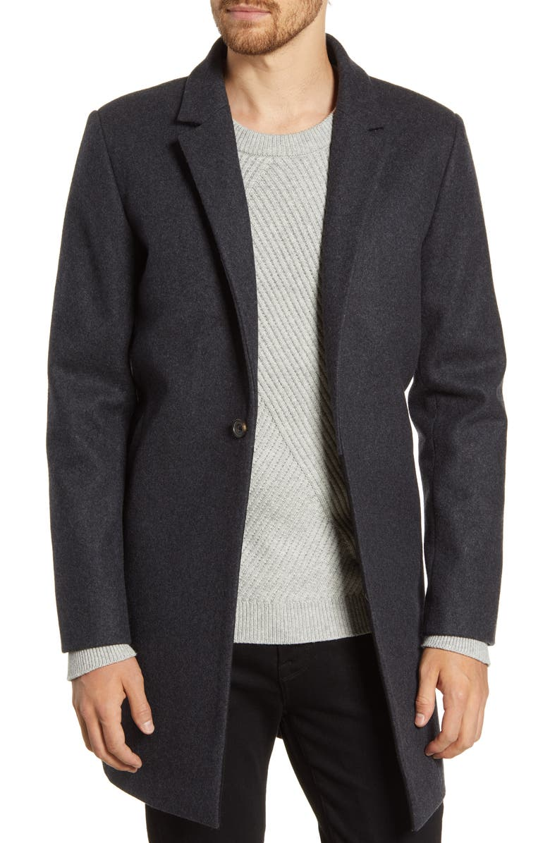 FRENCH CONNECTION Regular Fit Wool Blend Coat, Main, color, DARK GREY