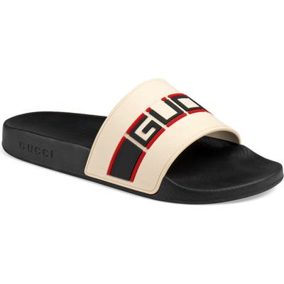 Gucci Pursuit Stripe Slide Sandal, White