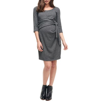 Maternal America Faux Wrap Maternity Dress, Grey