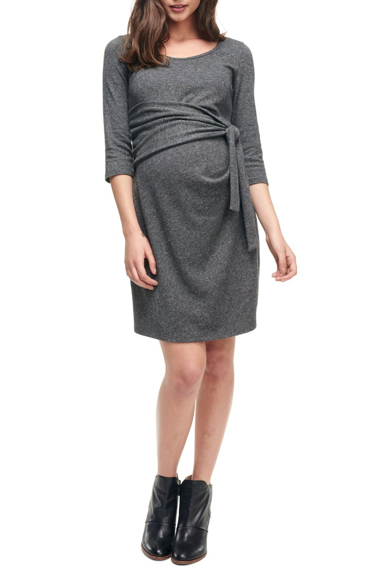 MATERNAL AMERICA Faux Wrap Maternity Dress, Main, color, HEATHER CHARCOAL