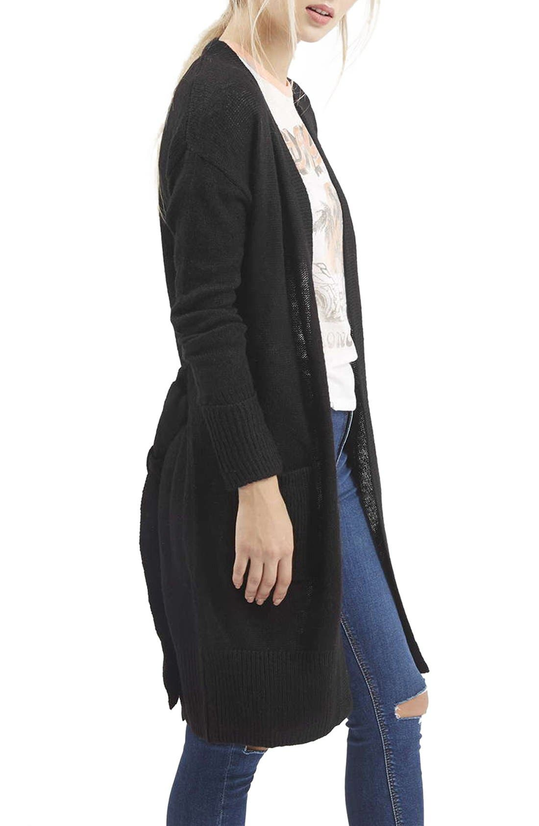 ,                             'Lulu' Belted Longline Cardigan,                             Alternate thumbnail 4, color,                             001