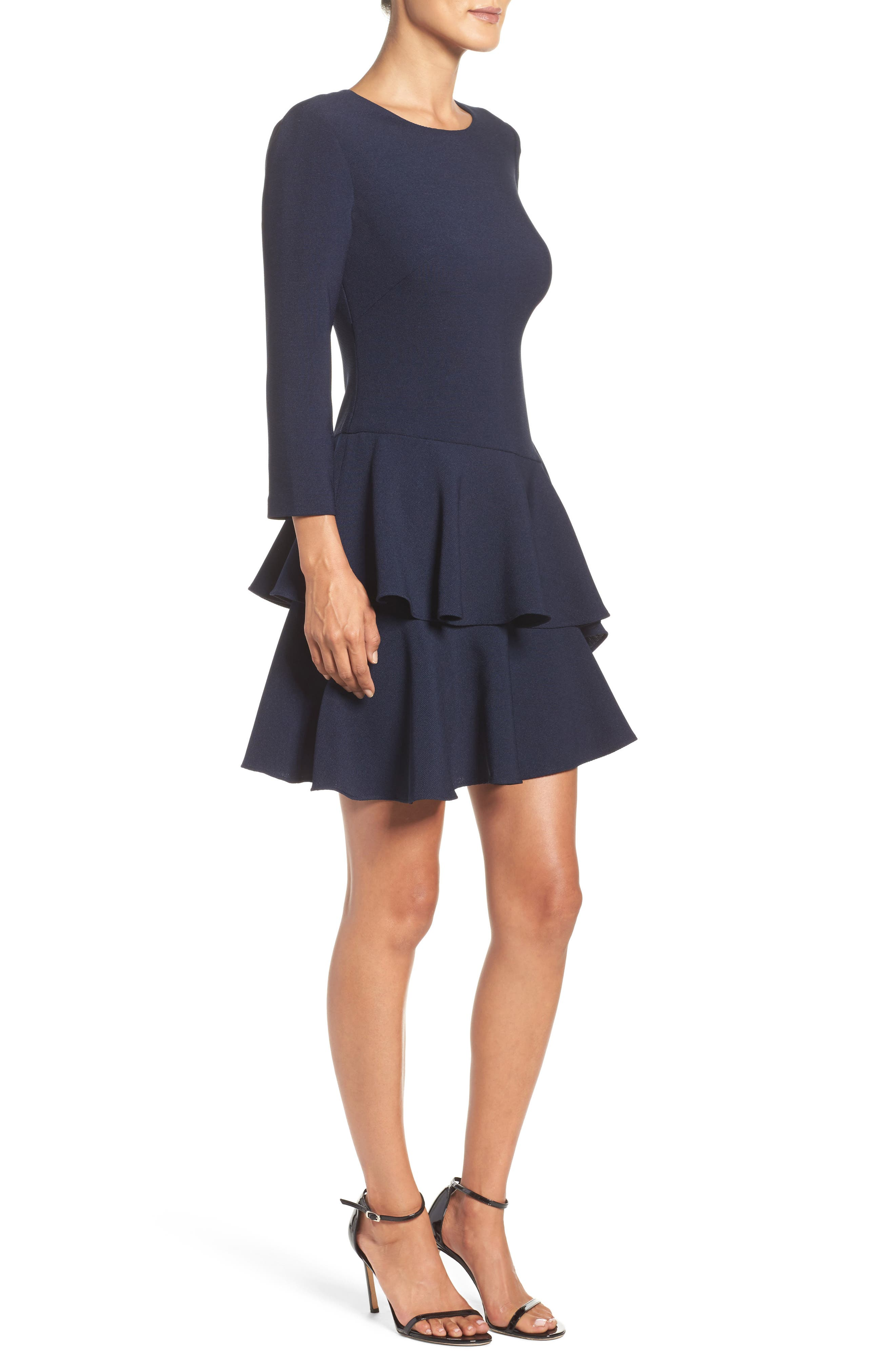 ,                             Tiered Ruffle Knit Dress,                             Alternate thumbnail 17, color,                             410