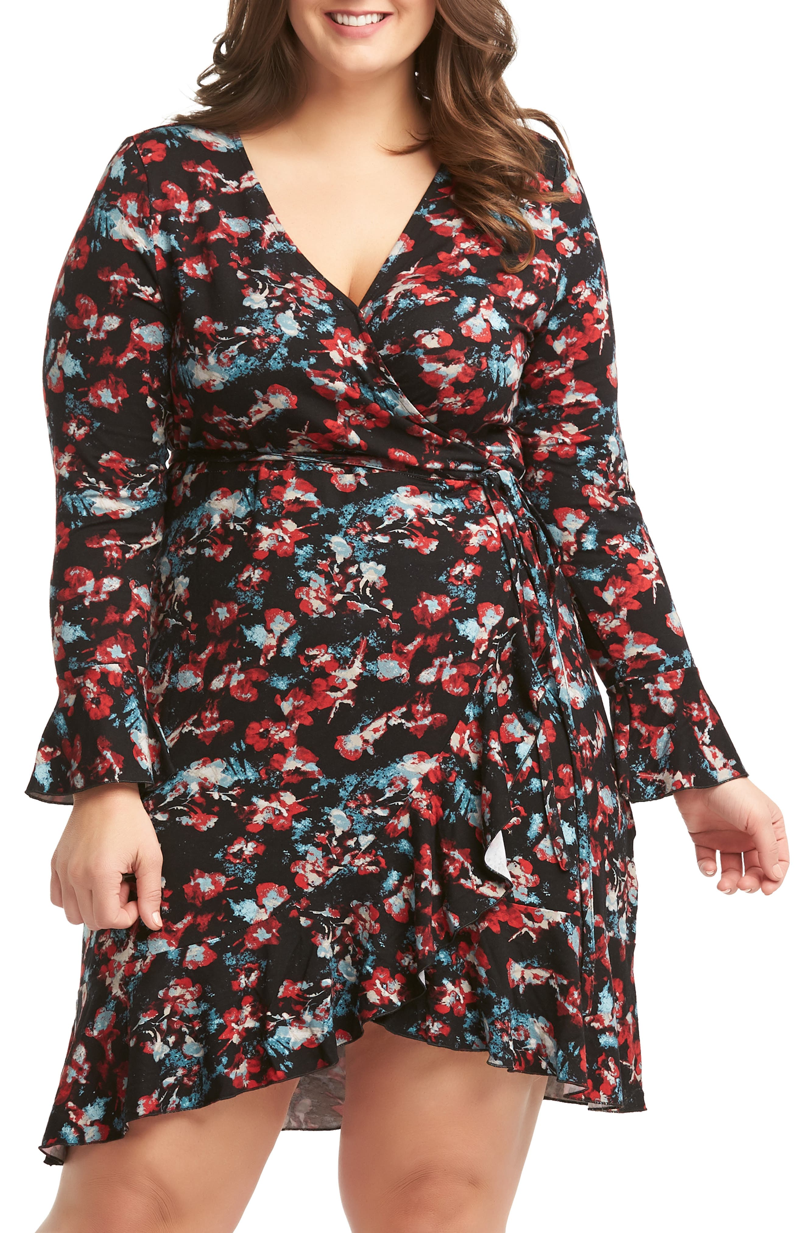 Plus Size Lemon Tart Eddie Ruffle Hem Wrap Dress, Black