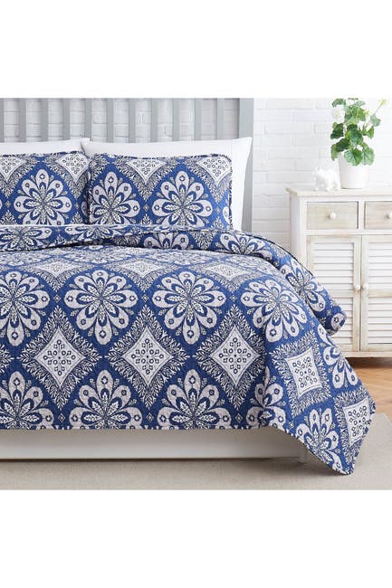 Image of SOUTHSHORE FINE LINENS Tranquility Oversized Quilt Cover Set - Blue - King/California King