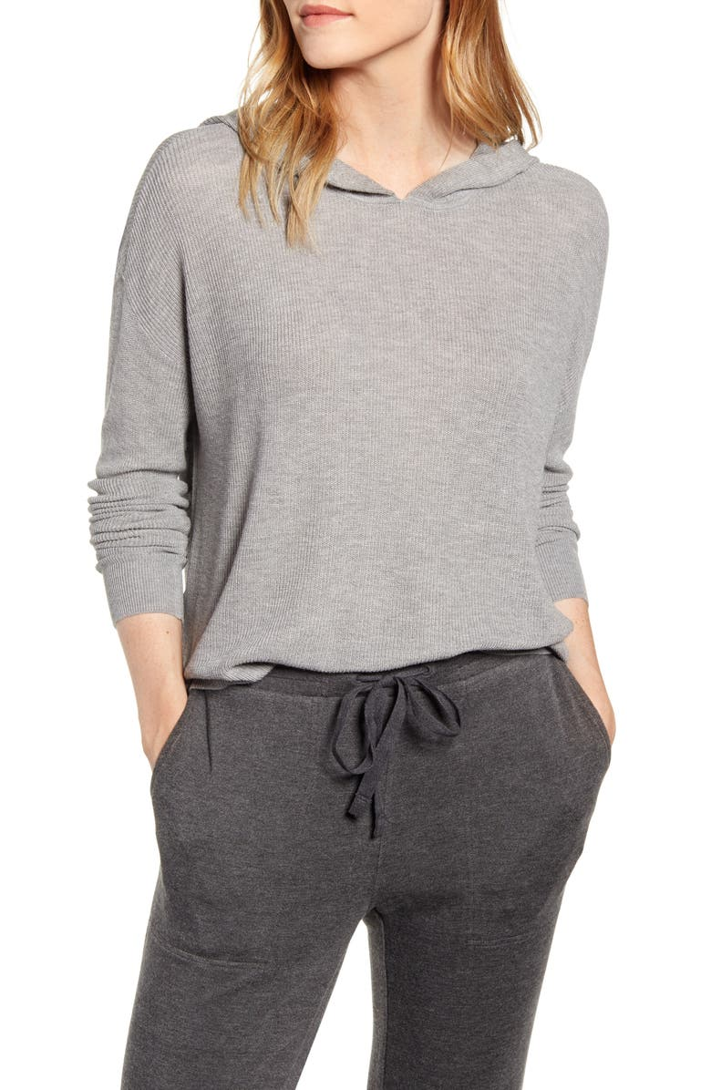 LOU & GREY Ribbed Hoodie Sweater, Main, color, LAZY GREY MELANGE