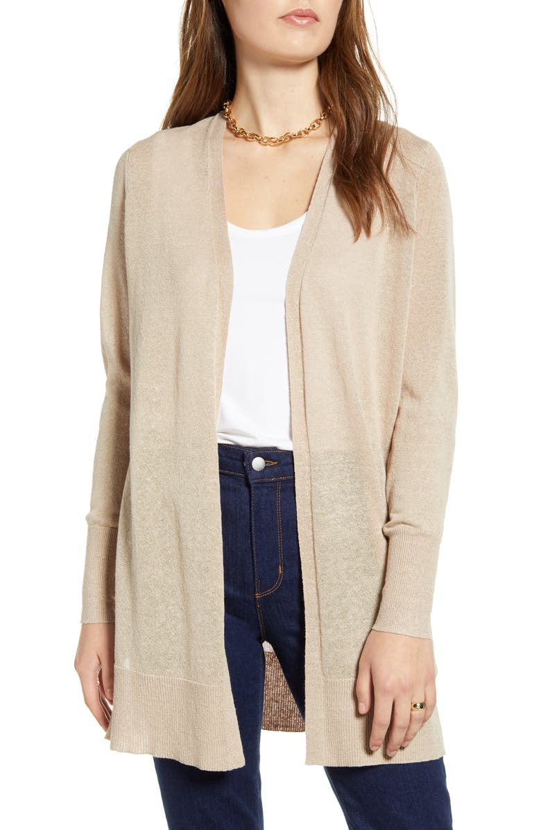 HALOGEN<SUP>®</SUP> Long Cardigan, Main, color, TAN COBBLESTONE