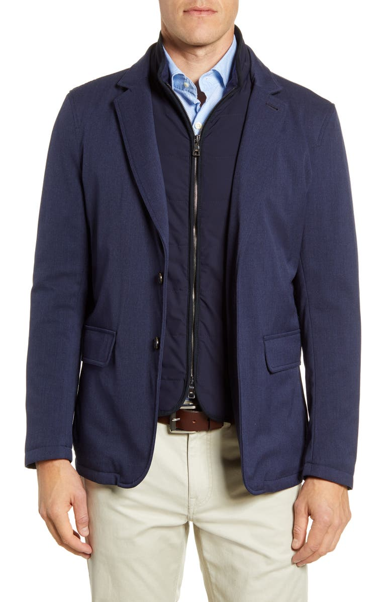 PETER MILLAR COLLECTION Valles Solid Stretch Wool Blazer, Main, color, BLUE