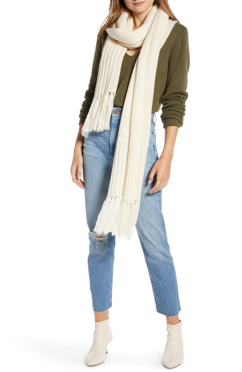 SOMETHING NAVY Long Skinny Scarf, Main, color, IVORY BIRCH