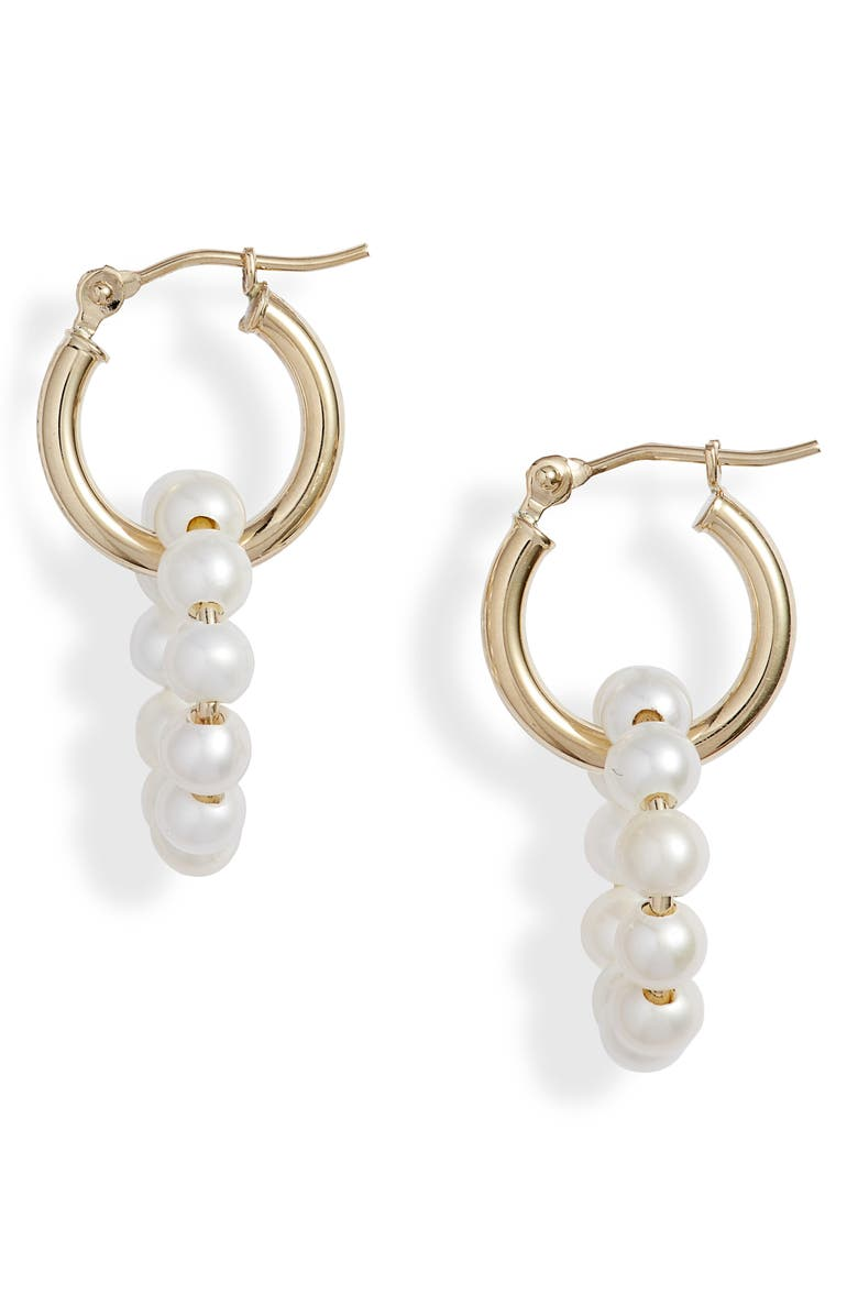 POPPY FINCH Pearl Hoop Earrings, Main, color, YELLOW GOLD/ PEARL