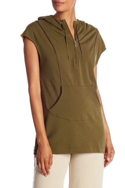 Image of Joan Vass Short Sleeve Partial Zip Hoodie
