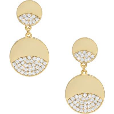 Ettika Double Crystal Disc Earrings