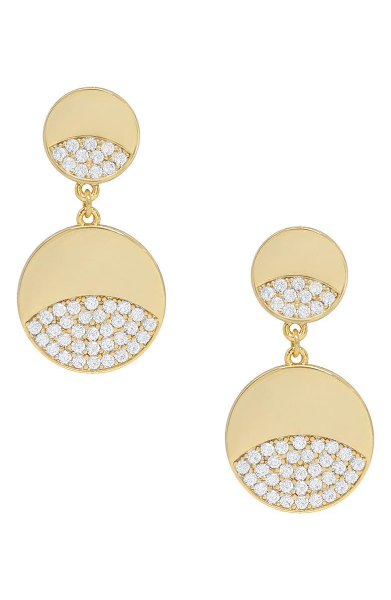 ETTIKA Double Crystal Disc Earrings, Main, color, GOLD