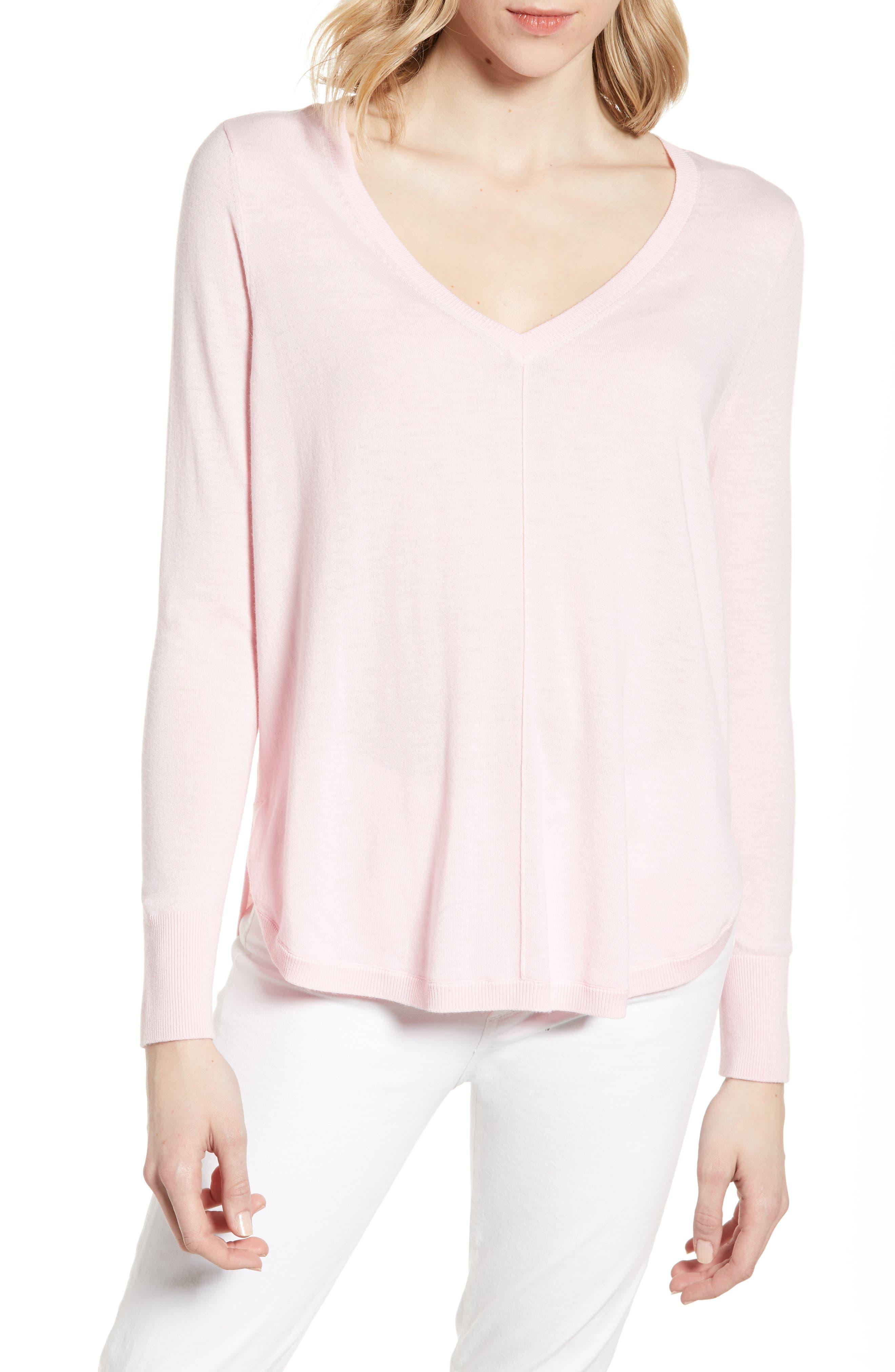 Caslon High-Low V-Neck Sweater, Pink