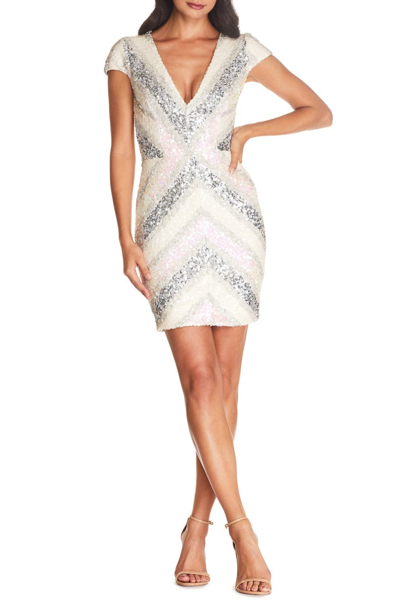 DRESS THE POPULATION Zoe Sequin Embellished Sheath, Main, color, 250