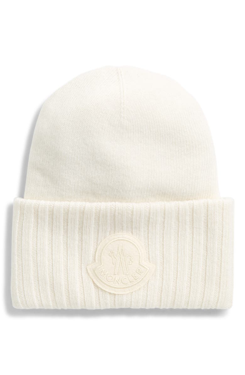MONCLER Logo Patch Wool Beanie, Main, color, WHITE