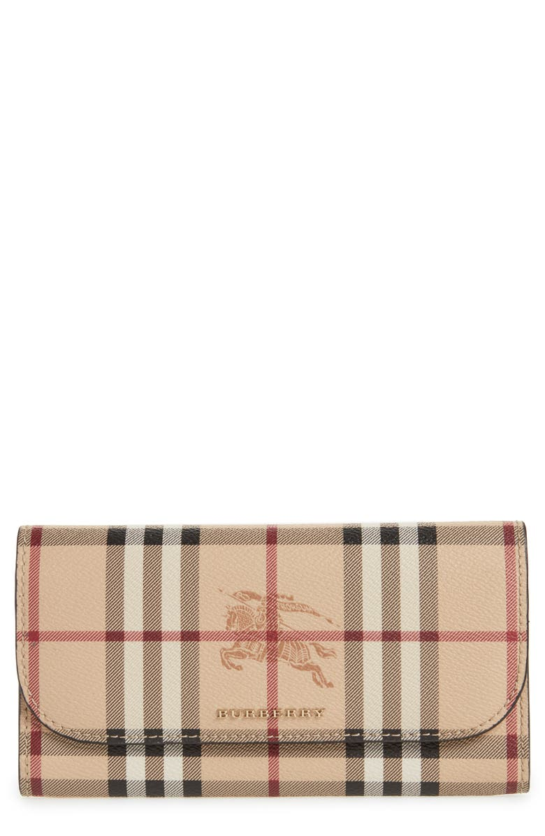 BURBERRY Harris Check Faux Leather Wallet, Main, color, 001