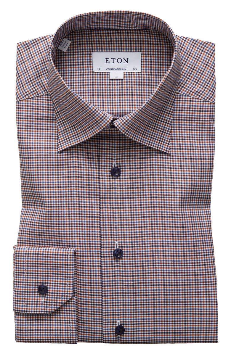 ETON Contemporary Fit Check Dress Shirt, Main, color, YELLOW/ ORANGE