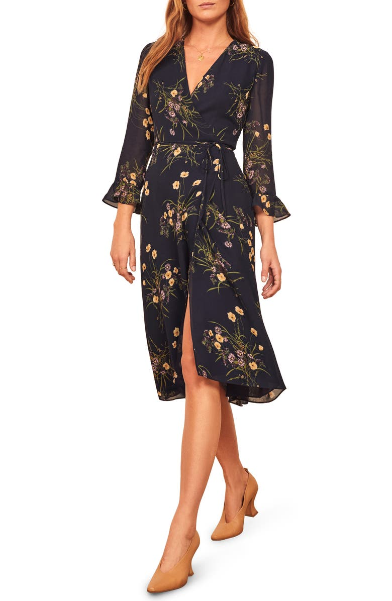 REFORMATION Mulberry Floral Print Wrap Dress, Main, color, MADEMOISELLE