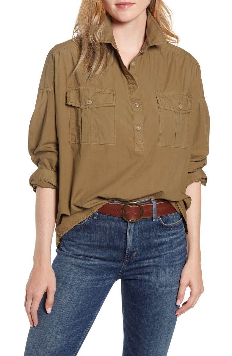 ALEX MILL Oversize Pocket Popover Shirt, Main, color, HICKORY