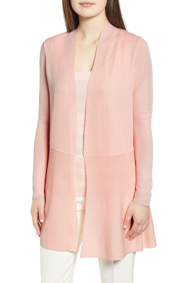 ANNE KLEIN Seam Detail Long Open Cardigan, Main, color, CHERRY BLOSSOM