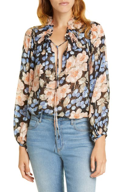 Rebecca Taylor Tops BLUSH ROSE TIE NECK BLOUSE