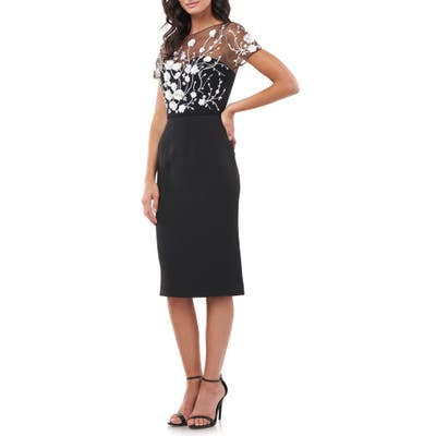 Js Collections Sequin Bodice Crepe Cocktail Dress, Black