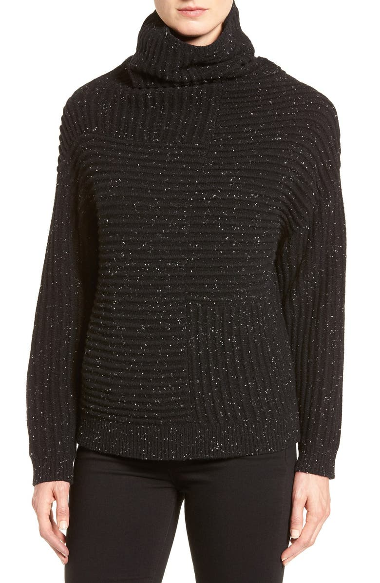NORDSTROM COLLECTION Rib Knit Cashmere Turtleneck, Main, color, 001