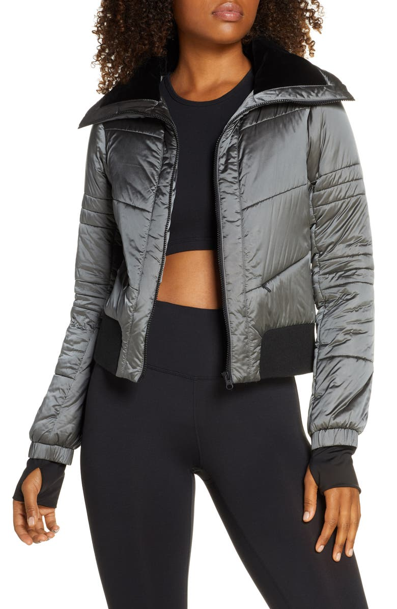 BLANC NOIR Bella Down Cropped Full Zip Jacket, Main, color, IRON GATE