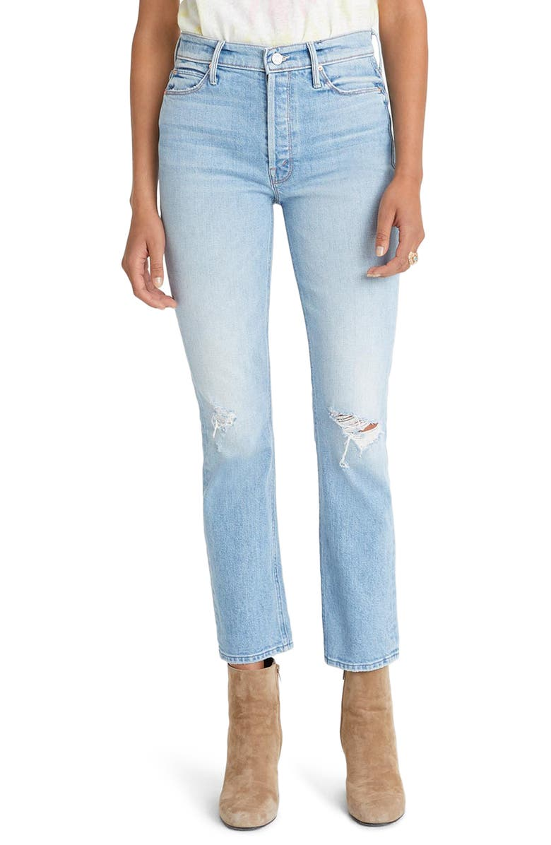 MOTHER The Dazzler Ripped High Waist Ankle Jeans, Main, color, REALLY INTOXICATED