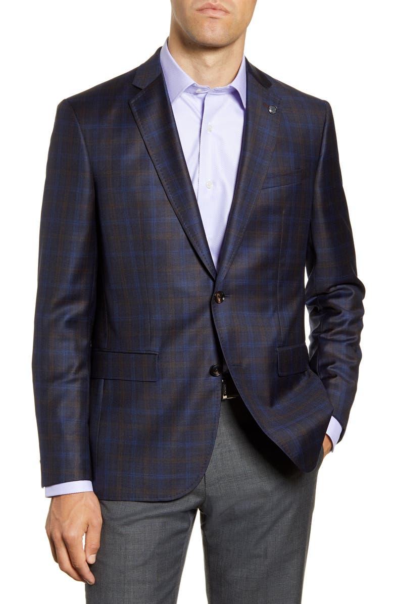 TED BAKER LONDON Jay Brown Trim Fit Plaid Sport Coat, Main, color, 400