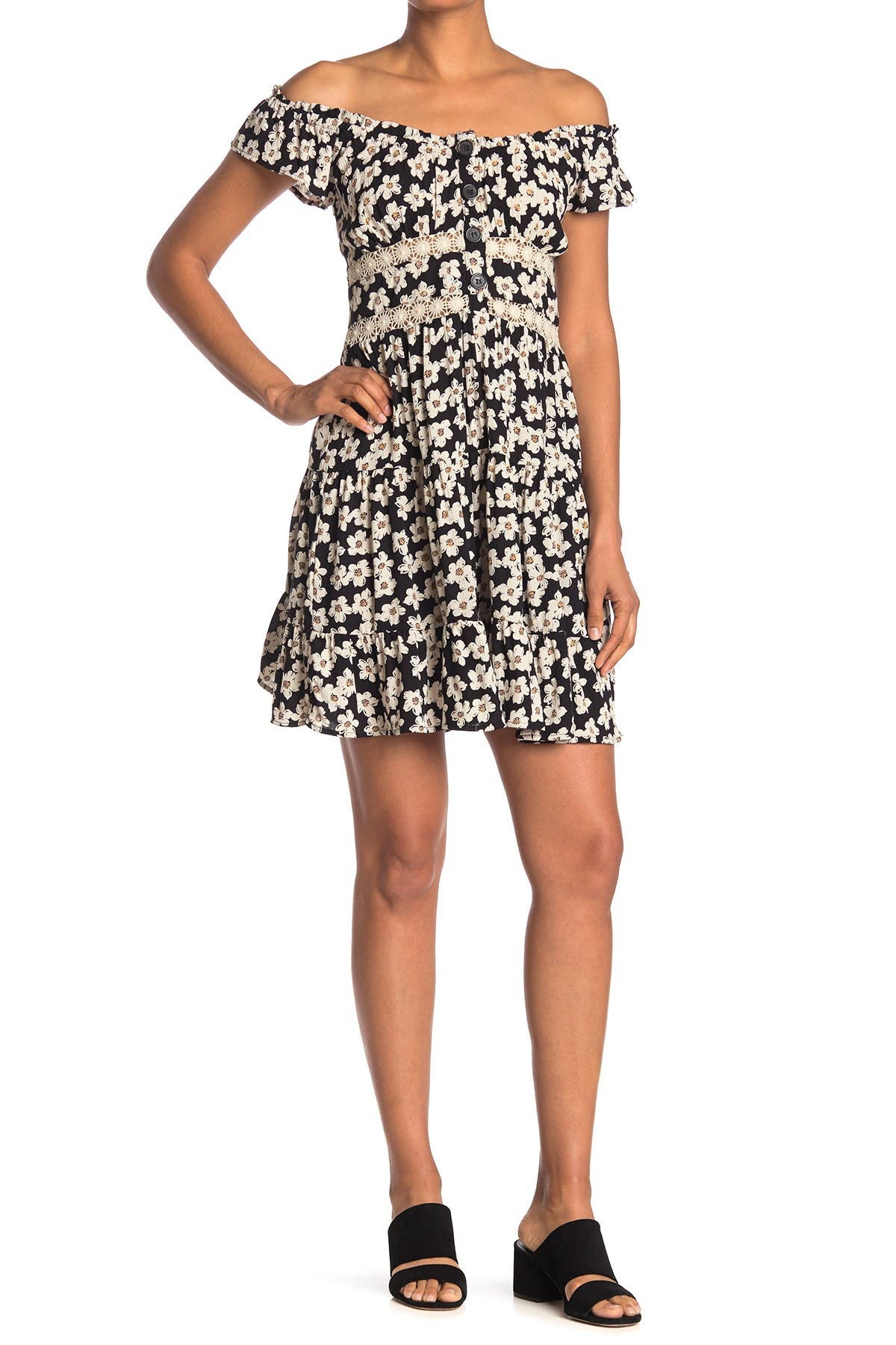 Image of Angie Tiered Floral Print Lace Trim Dress