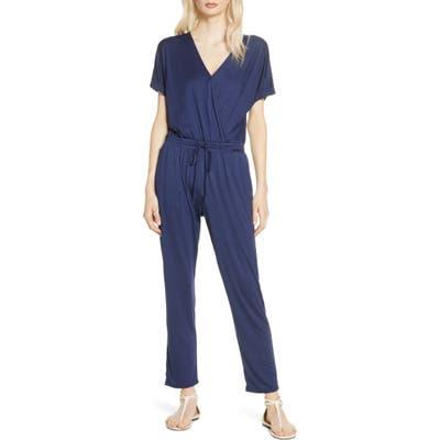 Chelsea28 Faux Wrap Jumpsuit, Blue