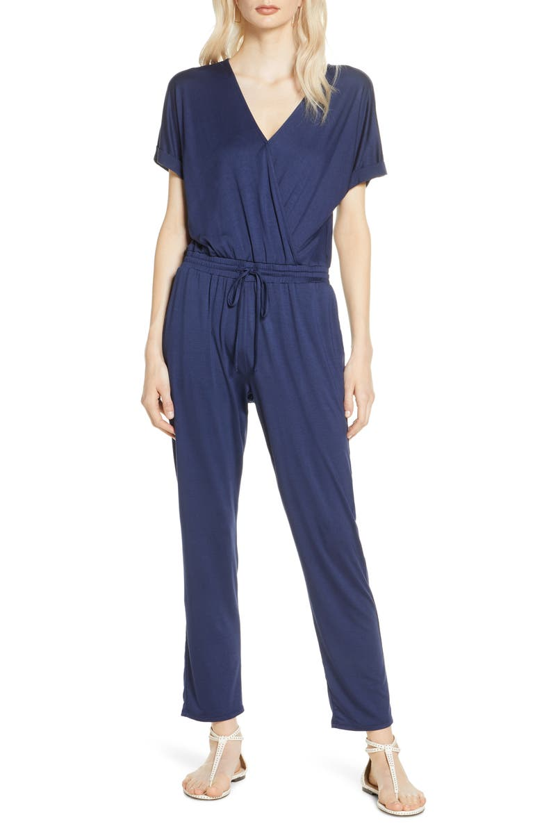 CHELSEA28 Faux Wrap Jumpsuit, Main, color, NAVY PEACOAT