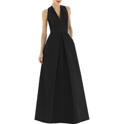 Plus Size Alfred Sung V-Neck Dupioni Evening Gown, Black